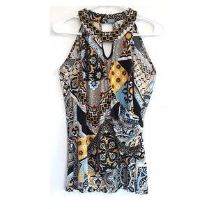 Cache sleeveless overlap v-neck top